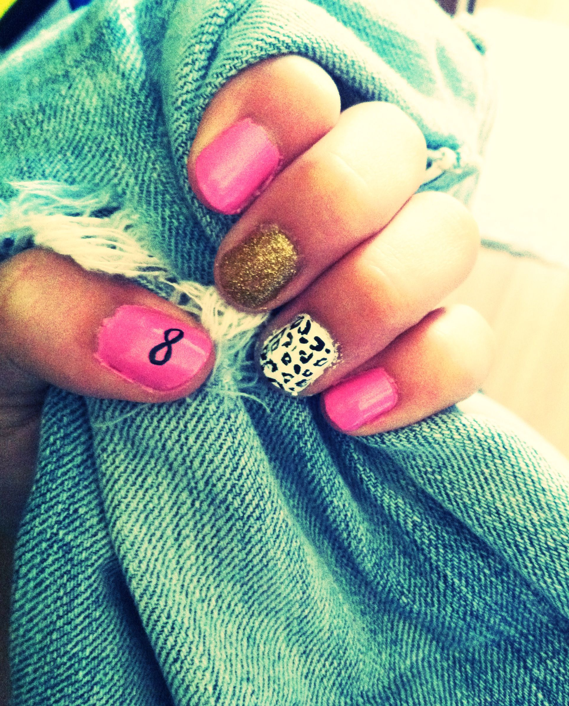 Infinity Nails With Cheetah And Gold