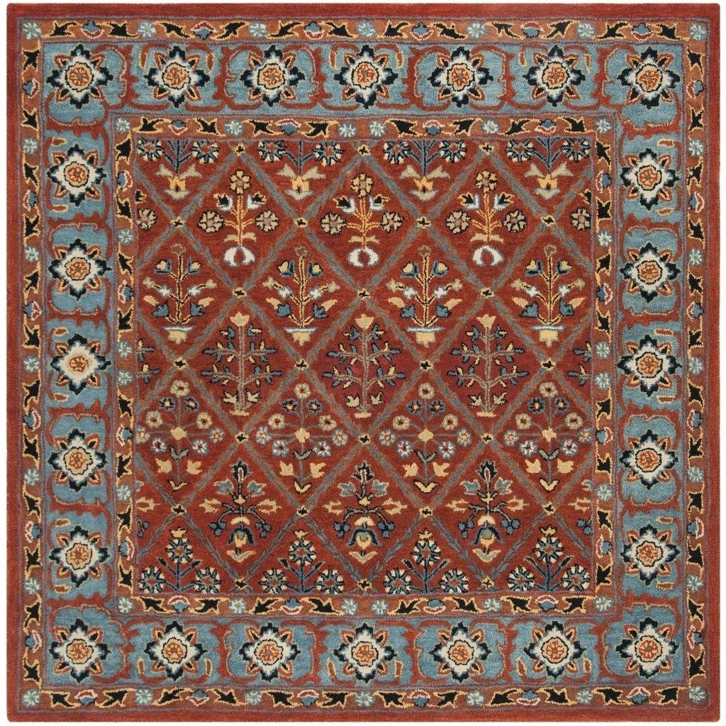 Safavieh Handmade Heritage Traditional Red Blue Wool Rug 6 X 6