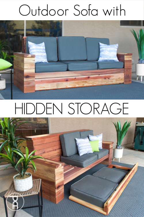 Build Your Own Wood Outdoor Sofa Couch With Hidden Cushion And Ice Chest Storage Following Easy Building Plans Diy Gartenmobel Aussencouch Haus Deko