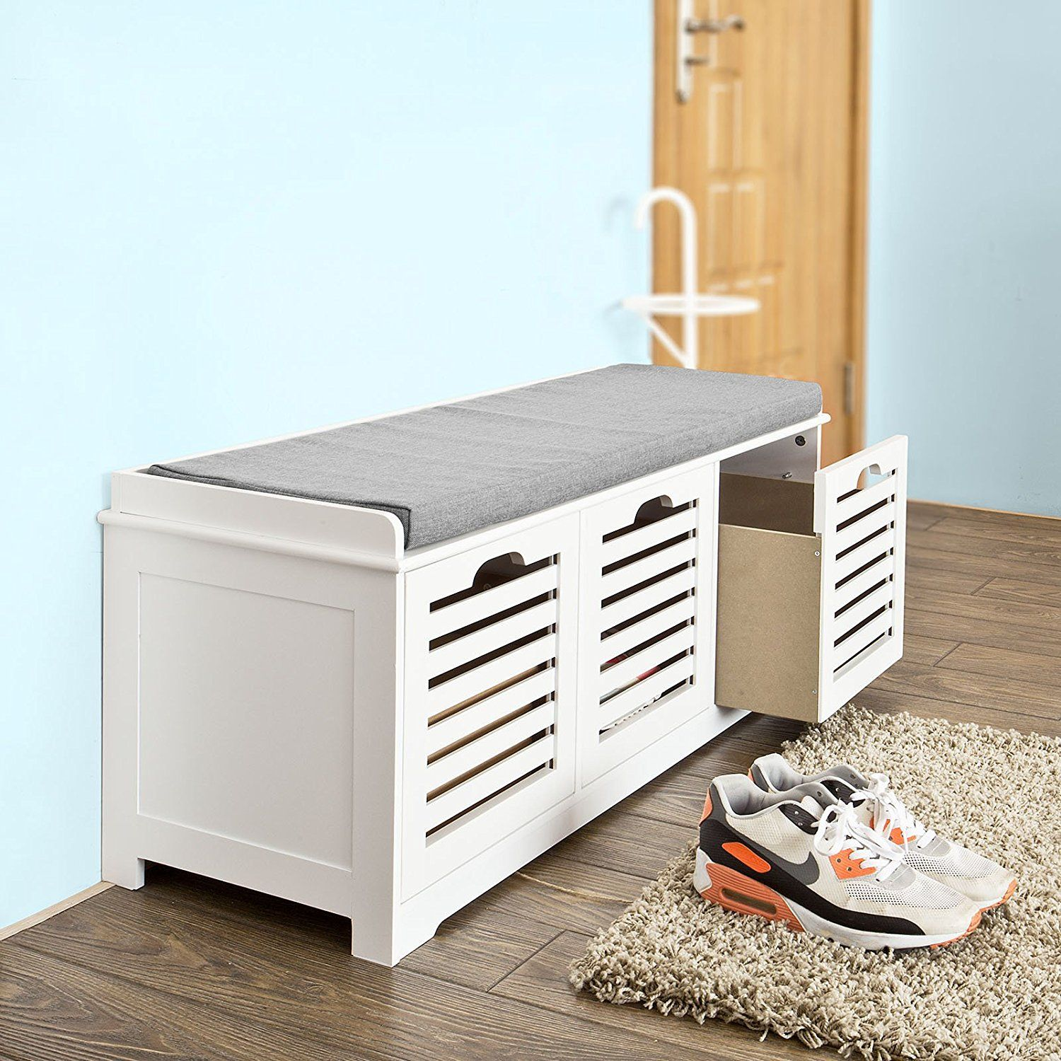 Sobuy Storage Bench With 3 Drawers Seat Cushion Shoe Cabinet