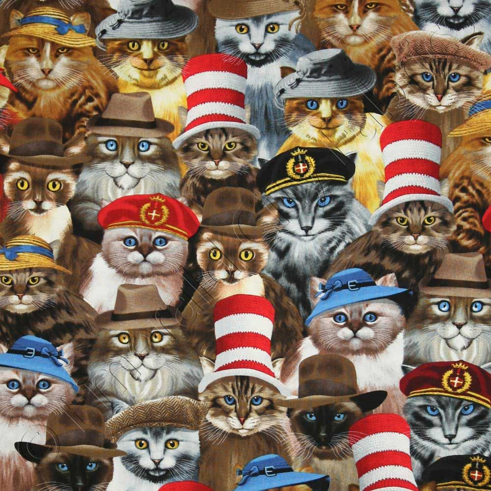 Timeless Treasures Cats in Hats Natural Fabric Cat