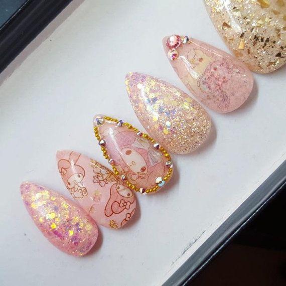 Hime Nail Set- kawaii nails, press on nails, false nails, fake nails ...