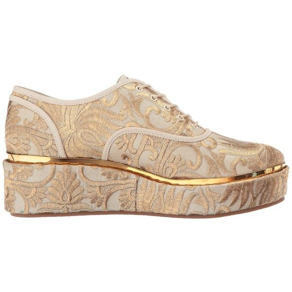 017a0756c Tory Burch Arden Platform Oxford (Beige/Gold Naya) Women's Lace up...  ($398) ❤ liked on Polyvore featuring shoes, oxfords, beige shoes, rubber  sole shoes, ...