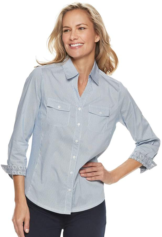 9398ad9e Petite Croft & Barrow® Knit-to-Fit Roll-Tab Shirt | tops | Shirts ...