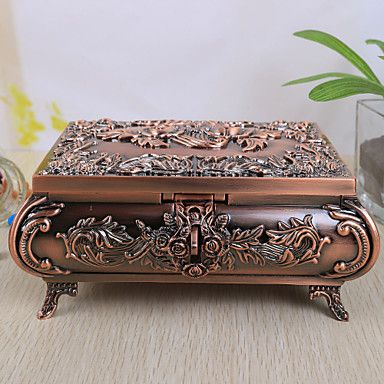 Vintage Rose Design Alloy Womens Jewelry Box Box Hat boxes and