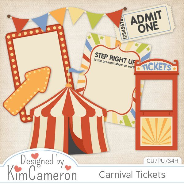 Carnival Tickets Templates by Kim Cameron Fair tickets, Digital - ball ticket template