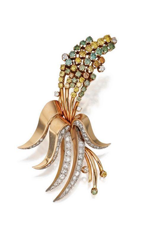 18 Karat Gold, Diamond and Colored Diamond Brooch, Paul Flato.  Circa 1945.