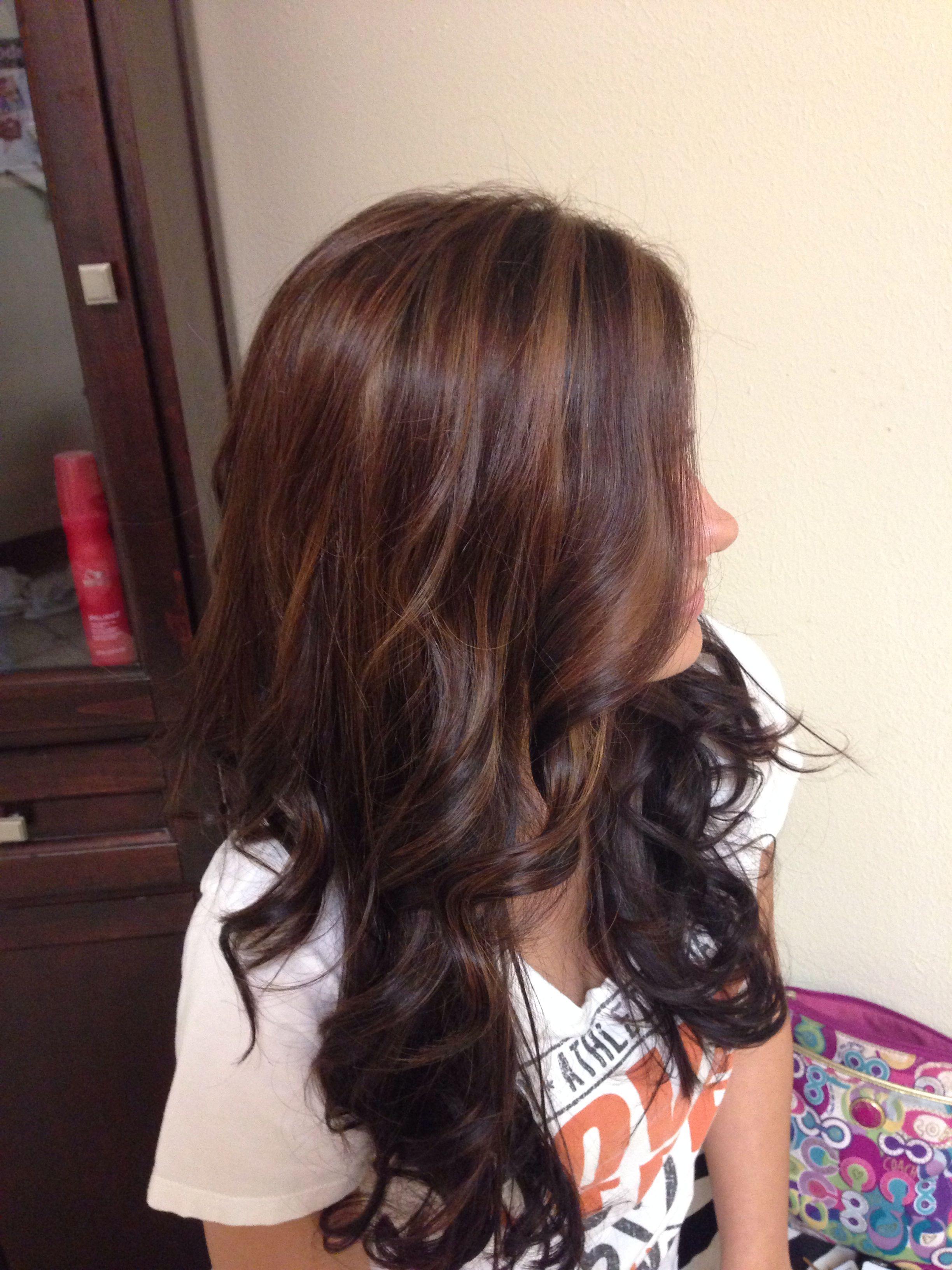 Golden Brown Highlight On Dark Hair Fab Hair Pinterest Golden