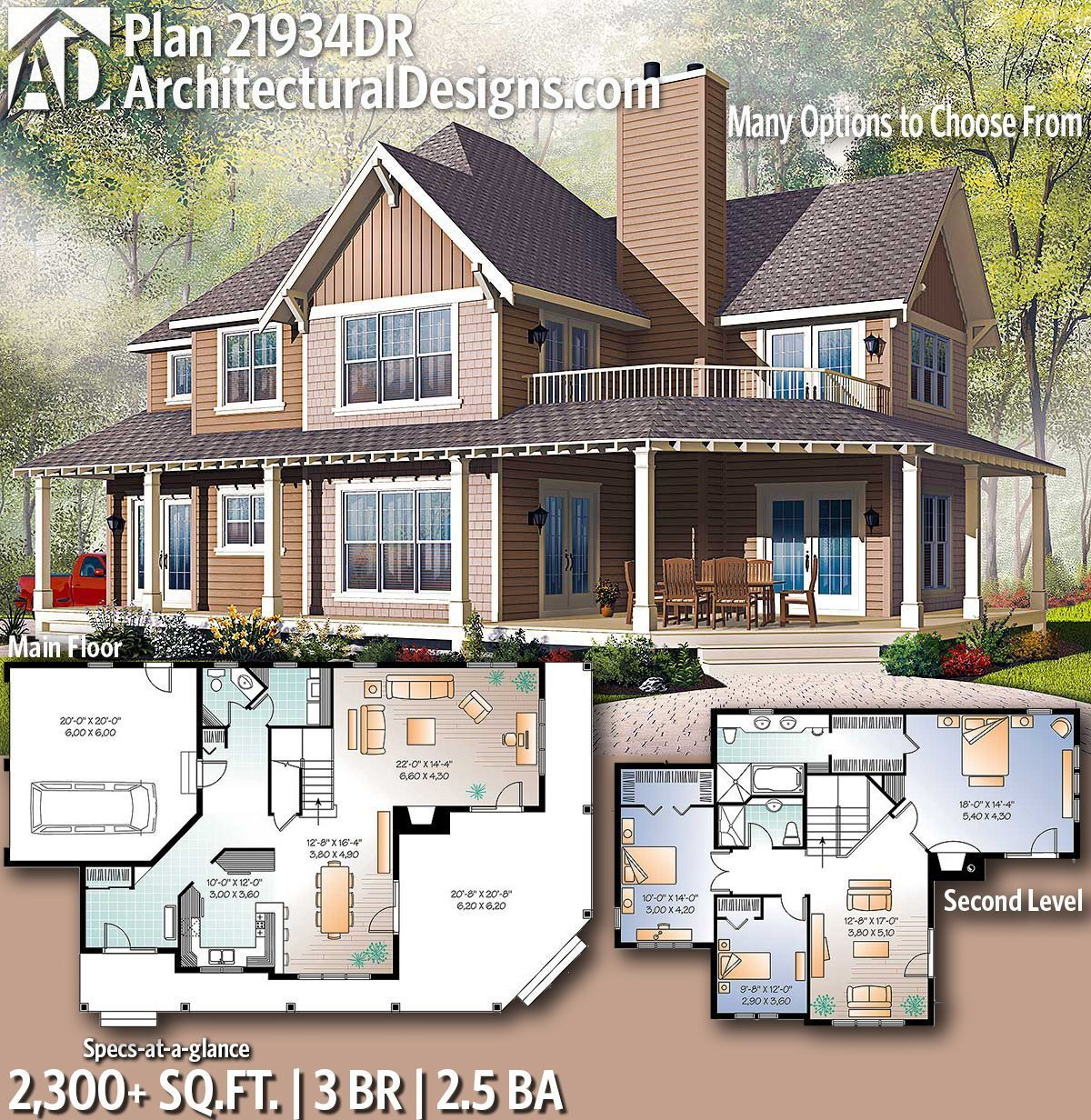 Architectural Designs Farmhouse Plan 21934DR with 3 Bedrooms 2.5 baths in 2,300+ Sq Ft. Ready when you are! Where do YOU want to build? #21934DR #adhouseplans #architecturaldesigns #houseplans #architecture #newhome #newconstruction #newhouse #homedesign #homeplans #architecture #home #farmhouse