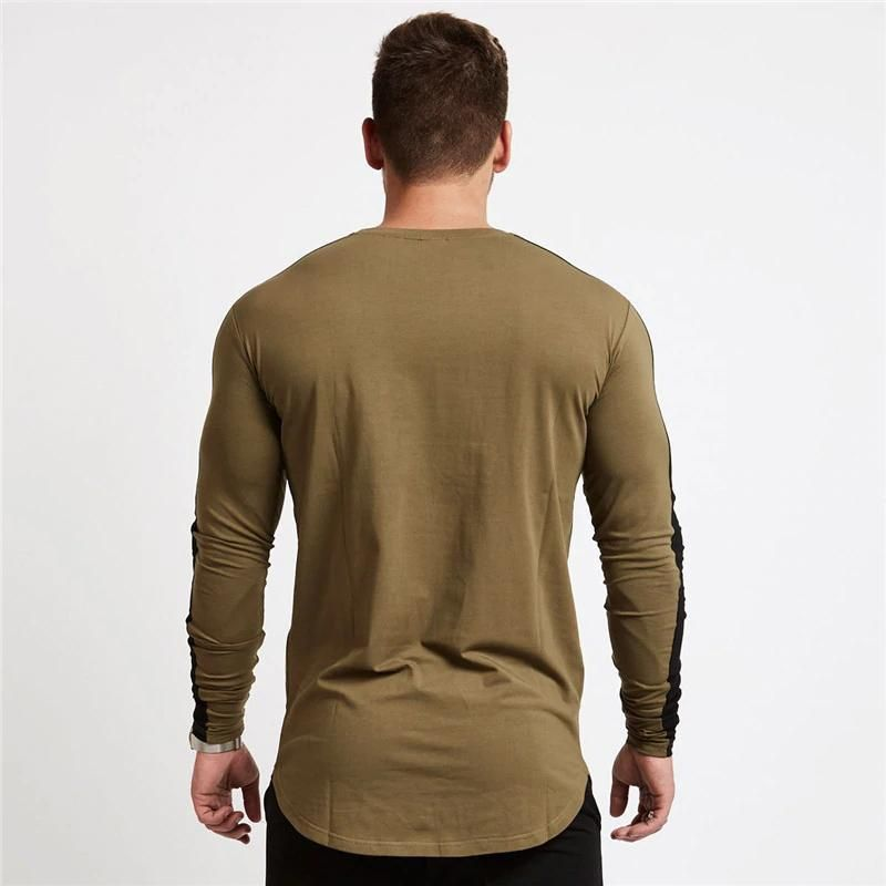 Mens Khaki Sweatshirt Long Sleeve T Shirt Under Layer Garment