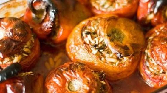 Greek Stuffed Tomatoes And Peppers Yemista Recipe Allrecipes Com Stuffed Peppers Greek Recipes Yemista Recipe