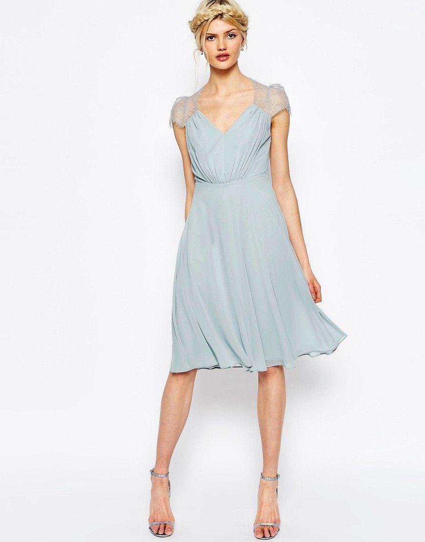 Asos wedding embellished floral drape back pencil midi dress - Image 1 Of Asos Kate Lace Midi Dress