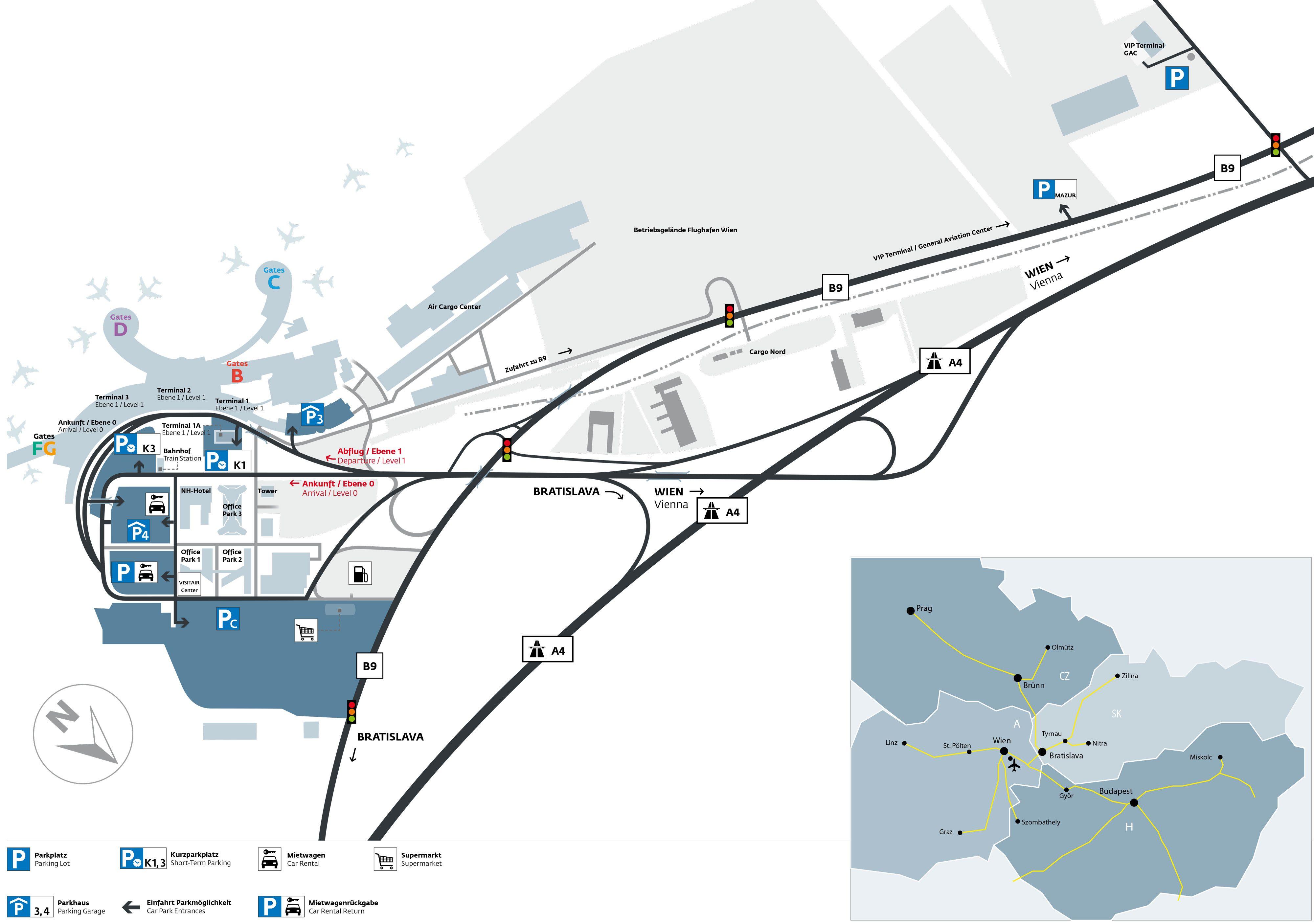Map Of Vienna International Airport Amp Terminal Vie