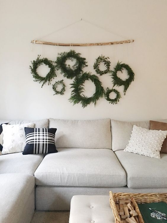 Photo of Homemade wreaths in the family room | Jones Design Company