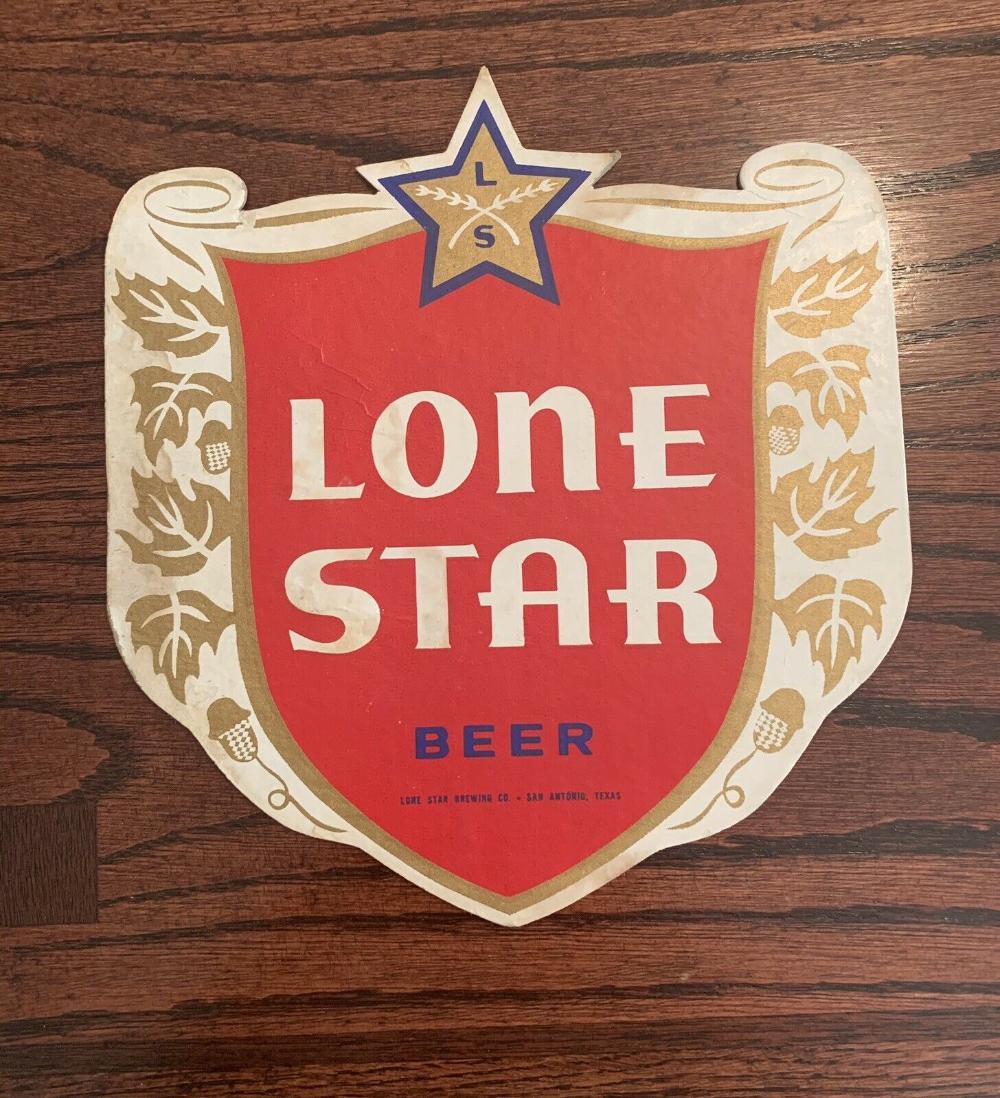 1960 S Lone Star Beer Cardboard Shield Sign San Antonio Texas Lone Star Stars Beer