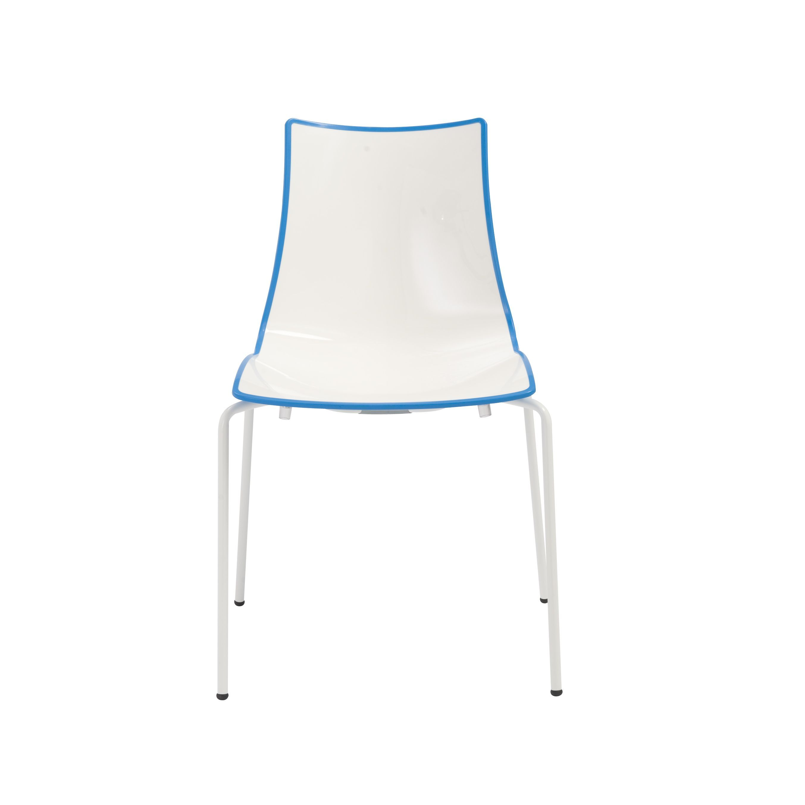 Euro Style Zebra Stacking Side Chair (White/Blue/White) (Steel)