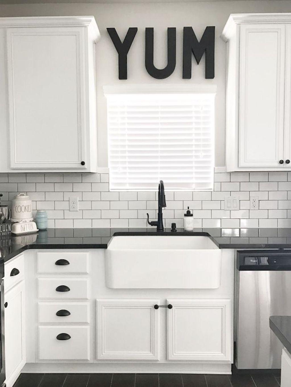 60 Fancy Farmhouse Kitchen Backsplash Decor Ideas 14 White Modern Kitchen Farmhouse Kitchen Backsplash Kitchen Design Decor