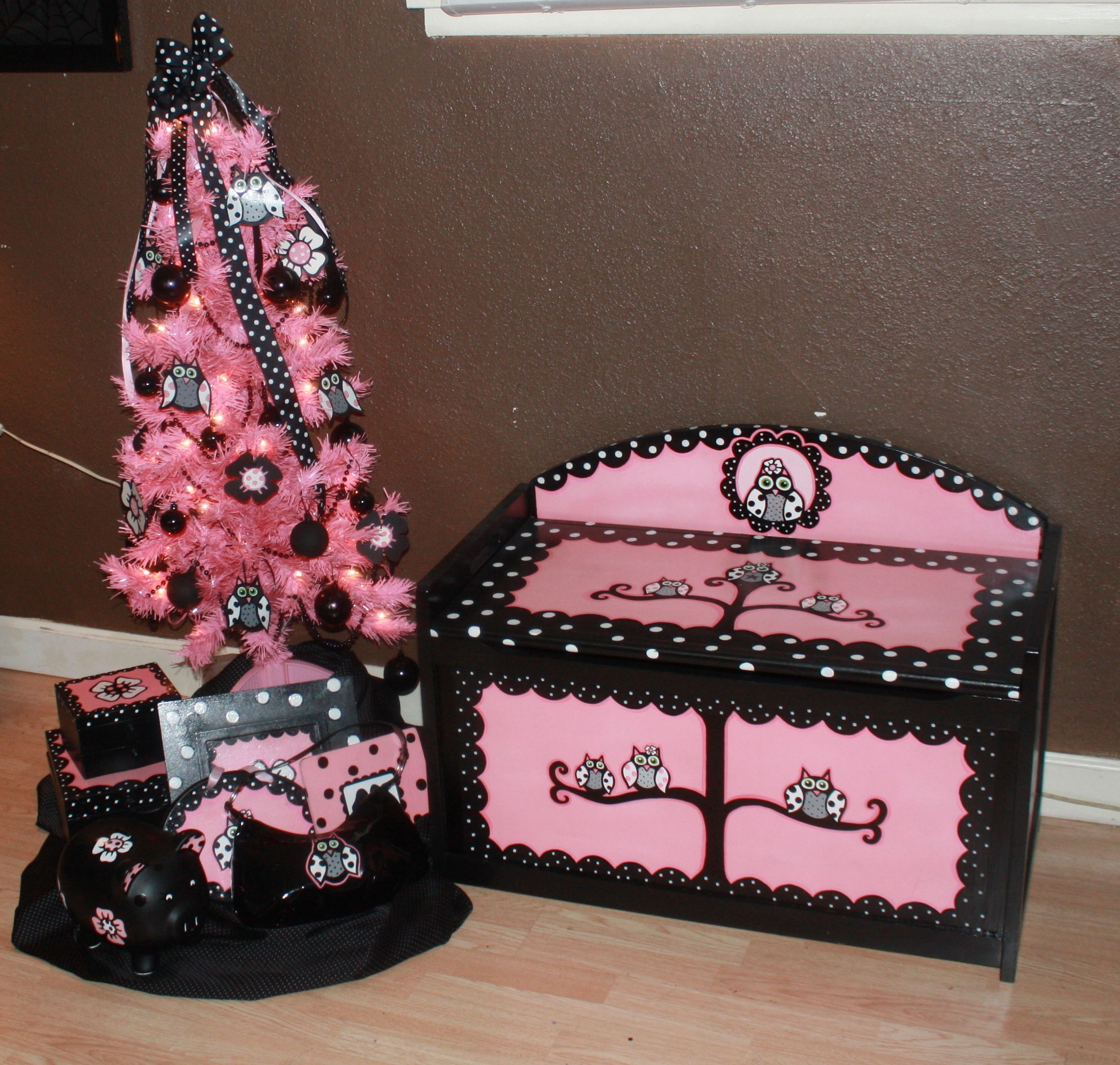 pink and black handpainted owl toy box and matching tree  hand  - pink and black handpainted owl toy box and matching tree