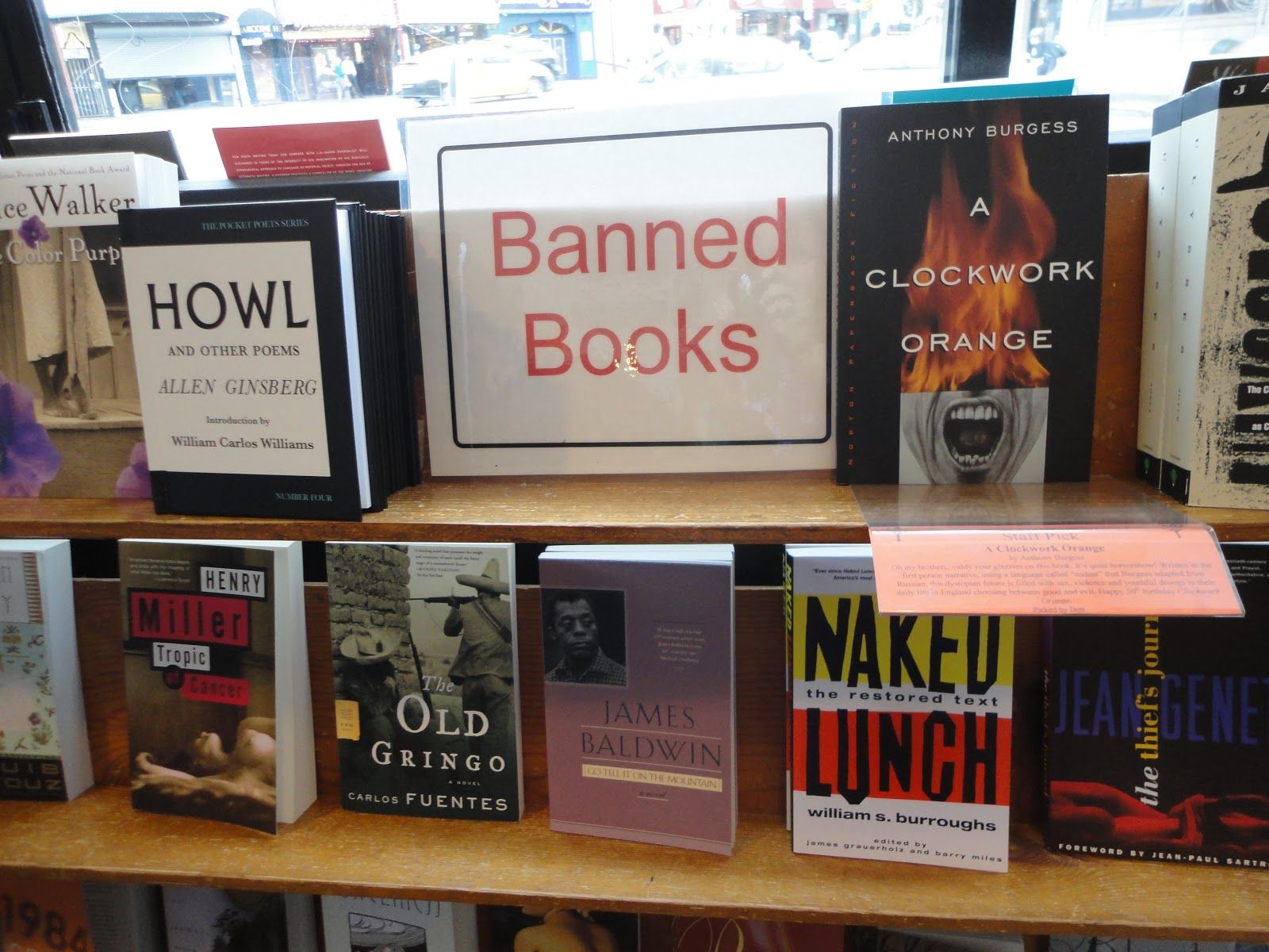 A display of notoriously controversial books for rebellious