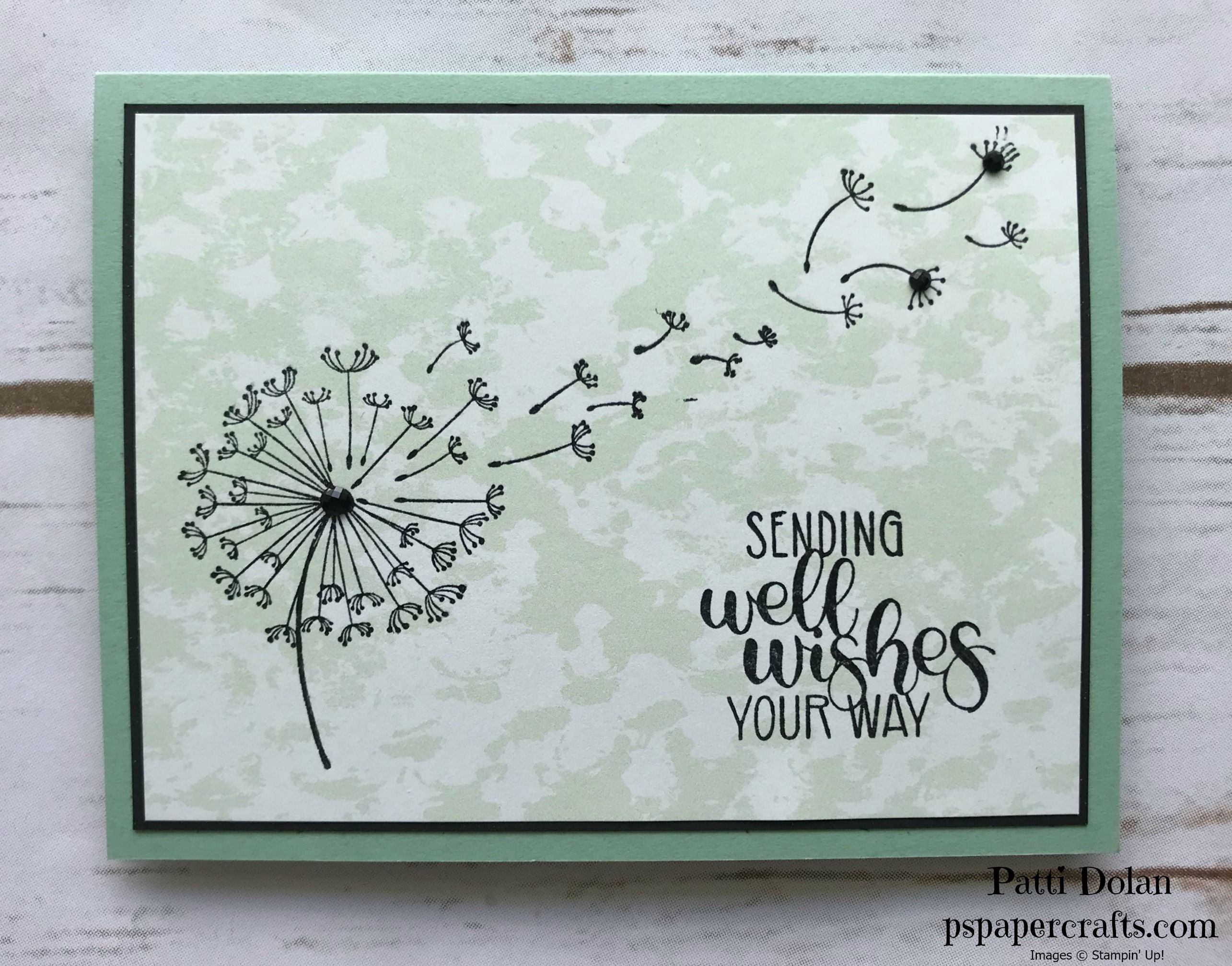 Diy Handmade Sending Well Wishes Your Way Card Featuring The Dandelion Wishes Stamp Set From Stampin Up Dandelion Wish Cards Inspirational Cards