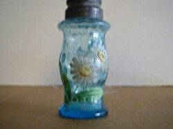 Blue glass shaker hand painted flowers