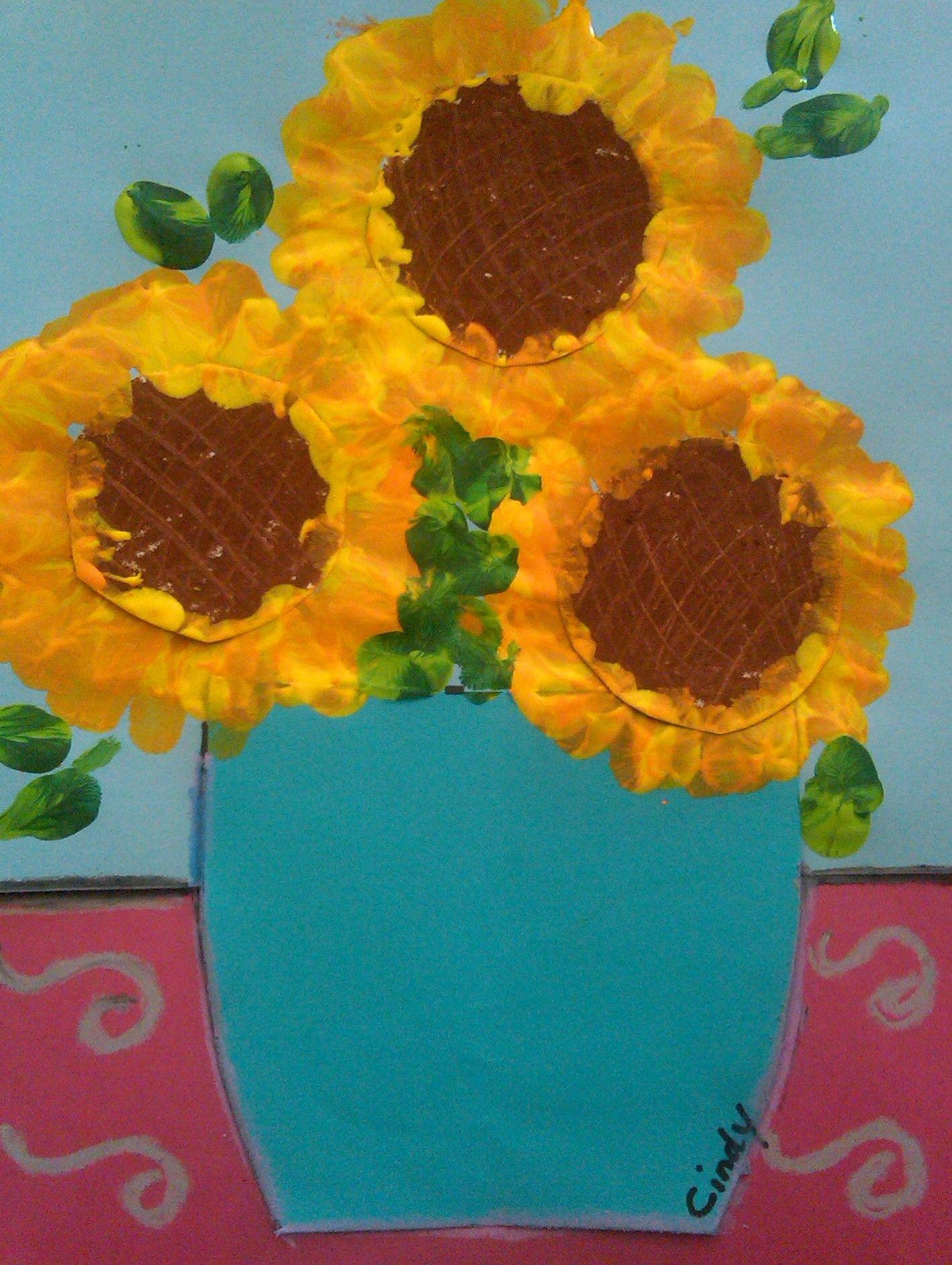 Vincent Van Gogh Fingerprint Painted Sunflowers In A Vase
