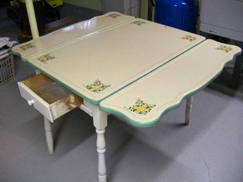 old metal enamel or porcelain kitchen table for the home