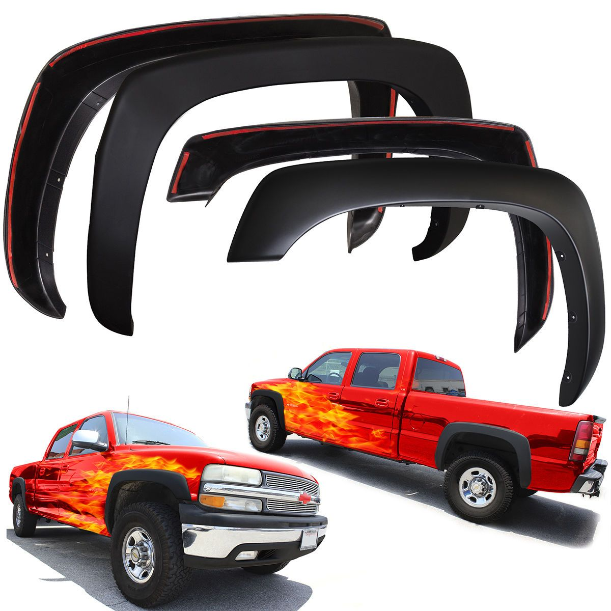 Silverado 2003 chevy silverado 1500 accessories : Fender Flares for Chevy Silverado 99-06 Set of 4 Paintable Matte ...