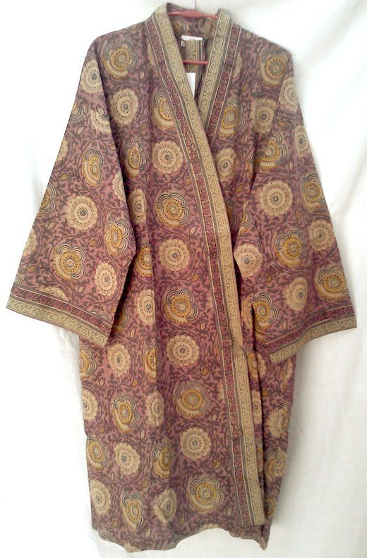 Boho Chic Anokhi Floral Hand Block Print Cotton Kimono Robe Dressing