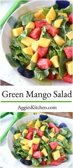 Unripe sour mango brightly flavored with lime and salt make this refreshing Green Mango Salad one to try this summer! Pair with grilled fish or seafood for a light, healthy meal.     via @aggieskitchen