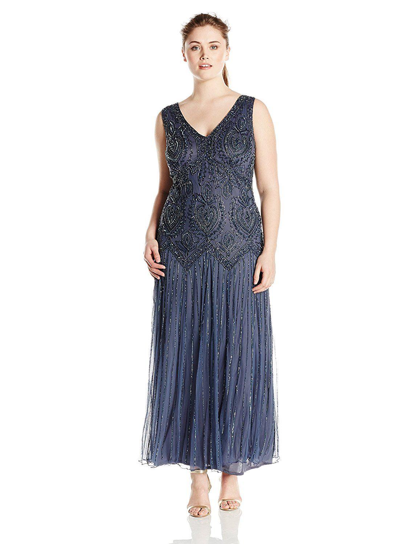 ba160e367e6 Pisarro Nights Women s Plus Size Long Beaded Jacket Dress at Amazon Women s  Clothing store