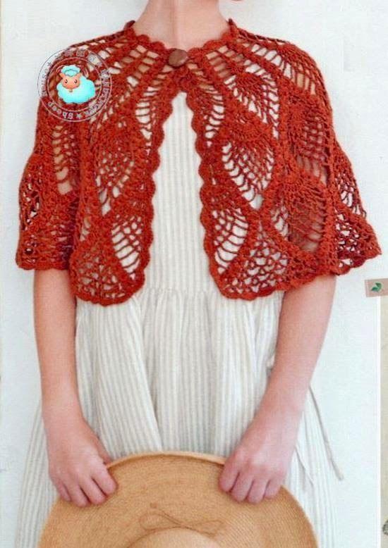 Crochet Capelet Pattern - Beautiful Pineapple Crochet Lace (Crochet ...