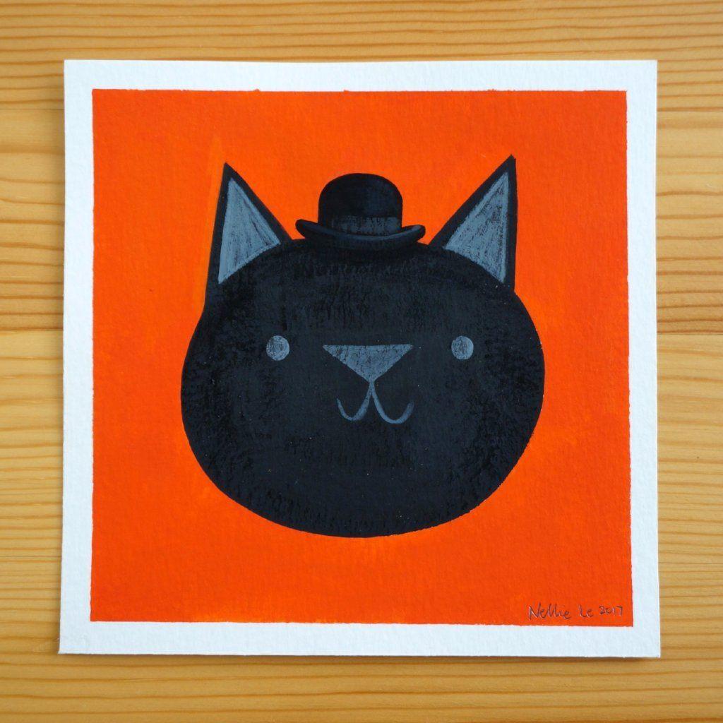 Bowler Black Cat 5x5 Painting Black cat, Painting, Cats