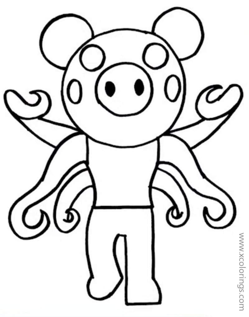 Infected Piggy From Piggy Roblox Coloring Pages Cow Coloring Pages Coloring Pages Cool Coloring Pages