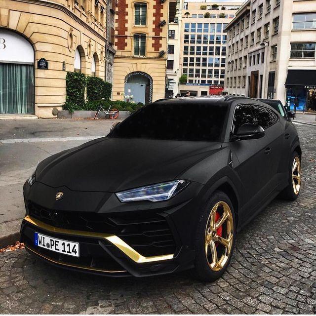 Affordable 4 Door Sports Car: #beast #lamborghini #urus #black #gold #noir #or #cars