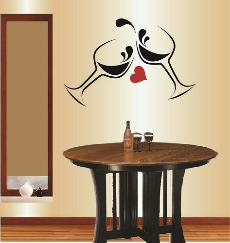 wall vinyl decal home decor art sticker wine glasses heart on wall stickers for home id=89675