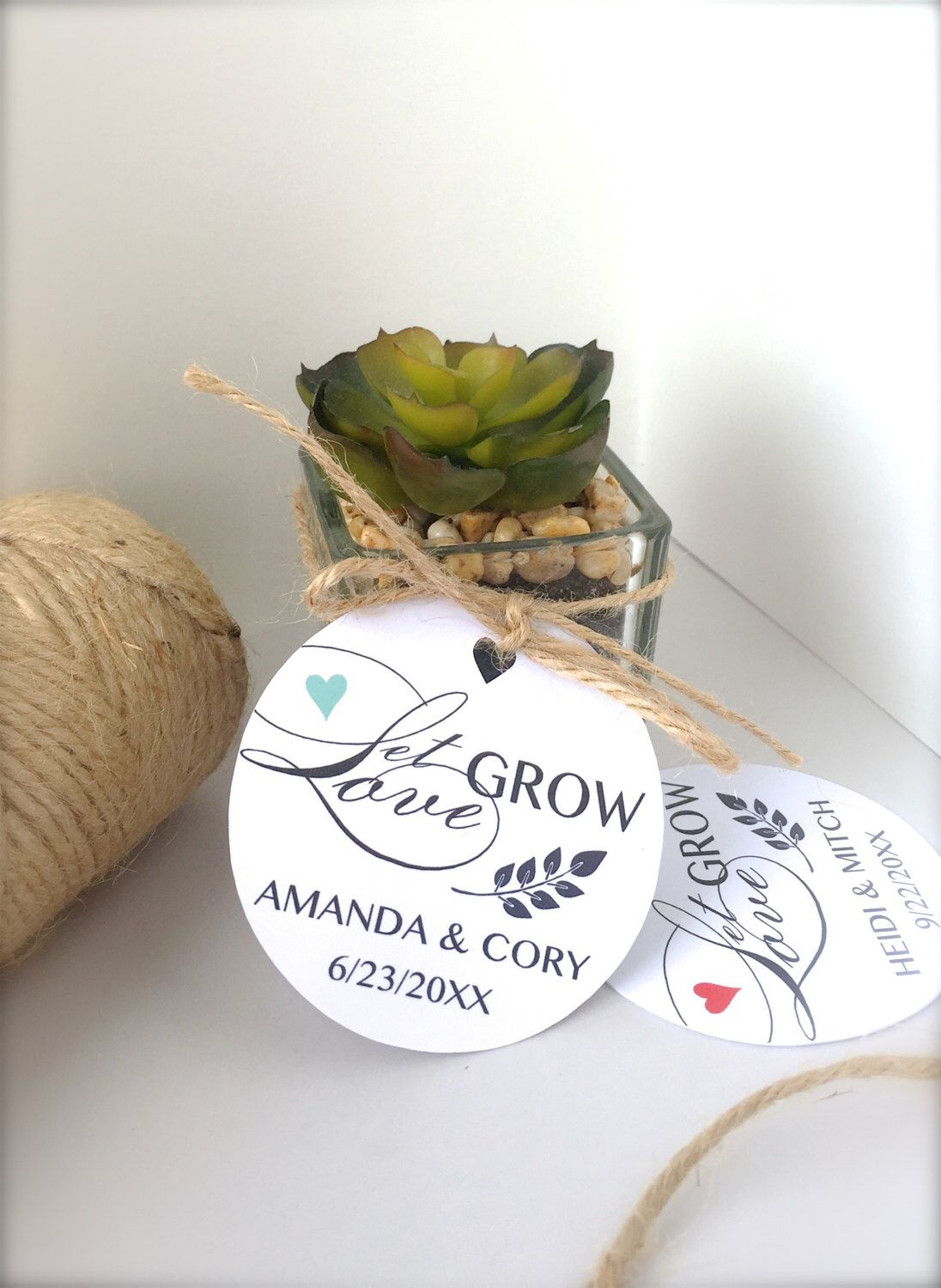 Wedding favor tags, Let love grow tags, seeds favor tags, succulents ...