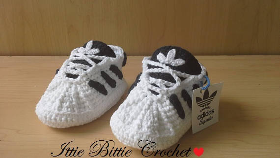 b6509723b130 ADIDAS SUPERSTAR Baby crochet adidas -newborn sneakers- booties-baby  crochet shoes-baby girl-baby bo