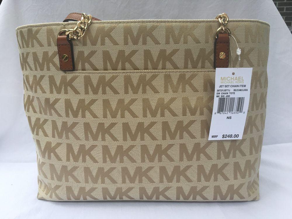 1abe73fda2 Michael Kors Jet Set Signature Beige Camel Luggage Chain Tote NWT  fashion   clothing