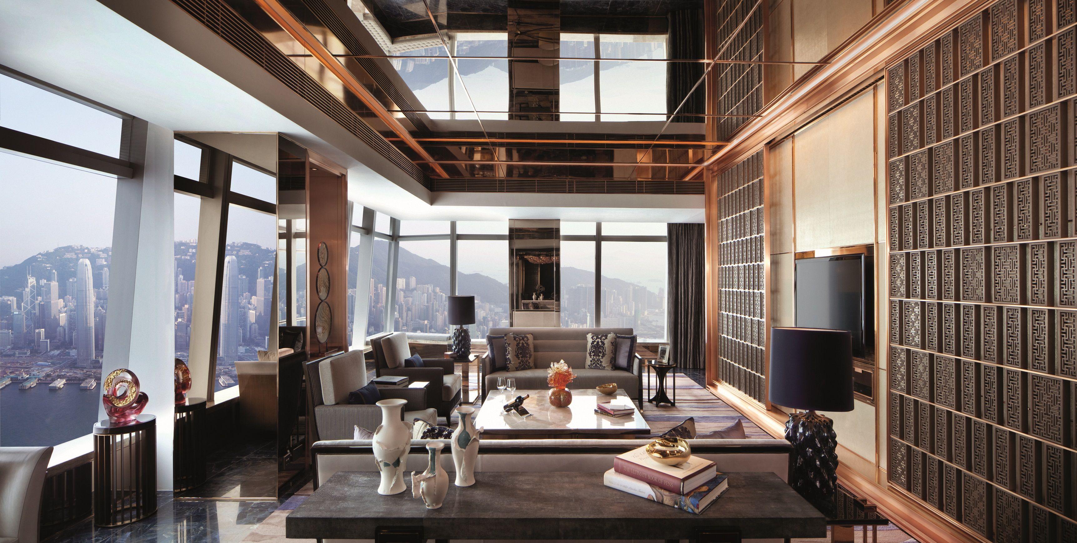 The Ritz Carlton Hong Kong Suites feature dramatic