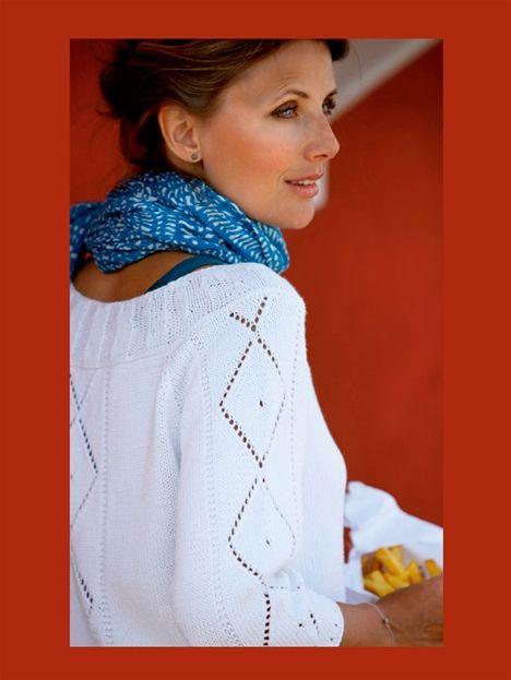 Smuk bluse med romber og løs pasform.
