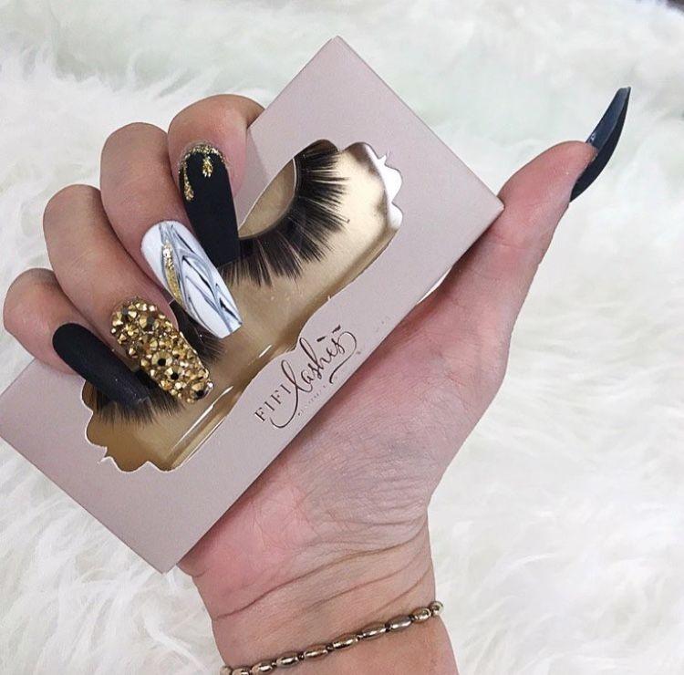 black matte marble gold diamonds nails   nails   Pinterest   Diamond ...