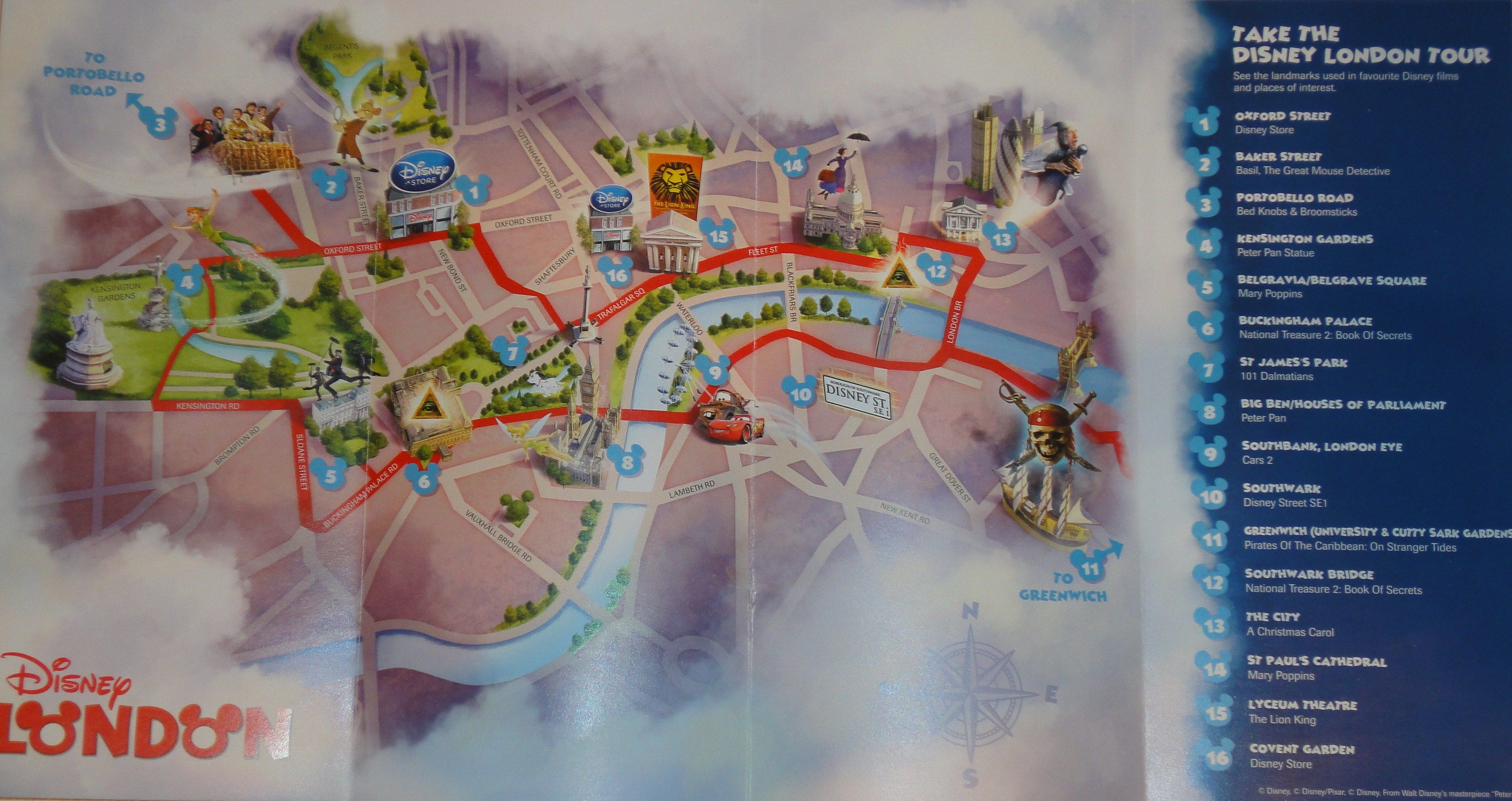 disney london tour map