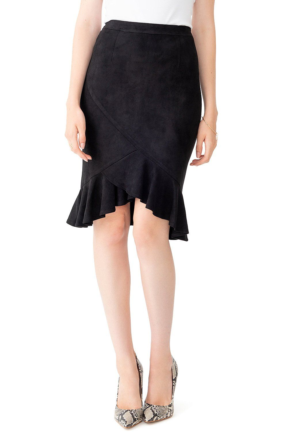 b434b2c666 Ruffled Front Skirt with Back Flounce - Black | Clothes to buy in ...