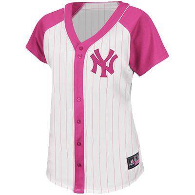 8a4c38a92a5 Majestic New York Yankees Women s Fashion Replica Jersey - White Pink