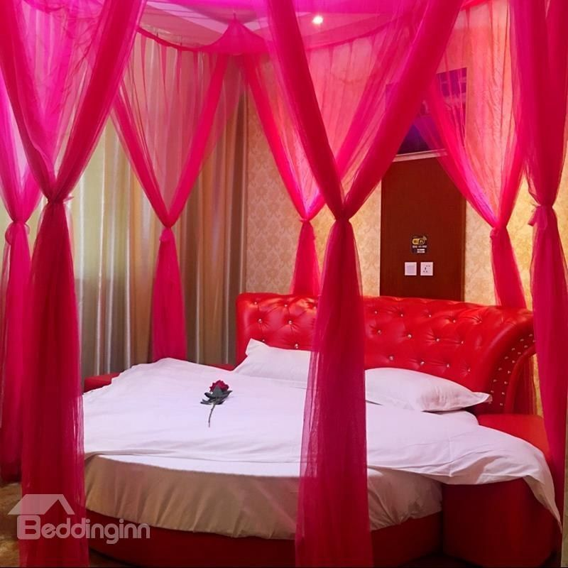 Rococo Style Romantic Eight Corner Red Polyester Bed Canopy