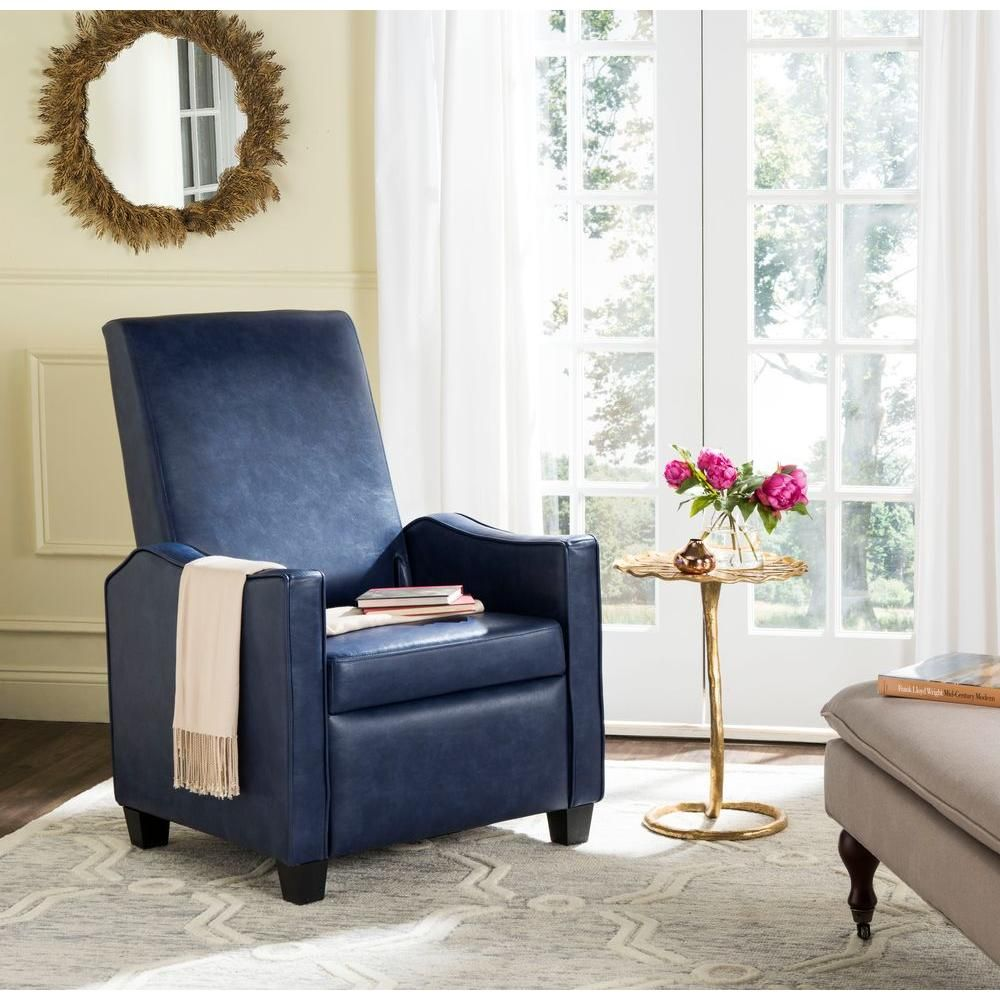 Holden Navy (Blue) Bicast Leather Recliner | Recliner and Products