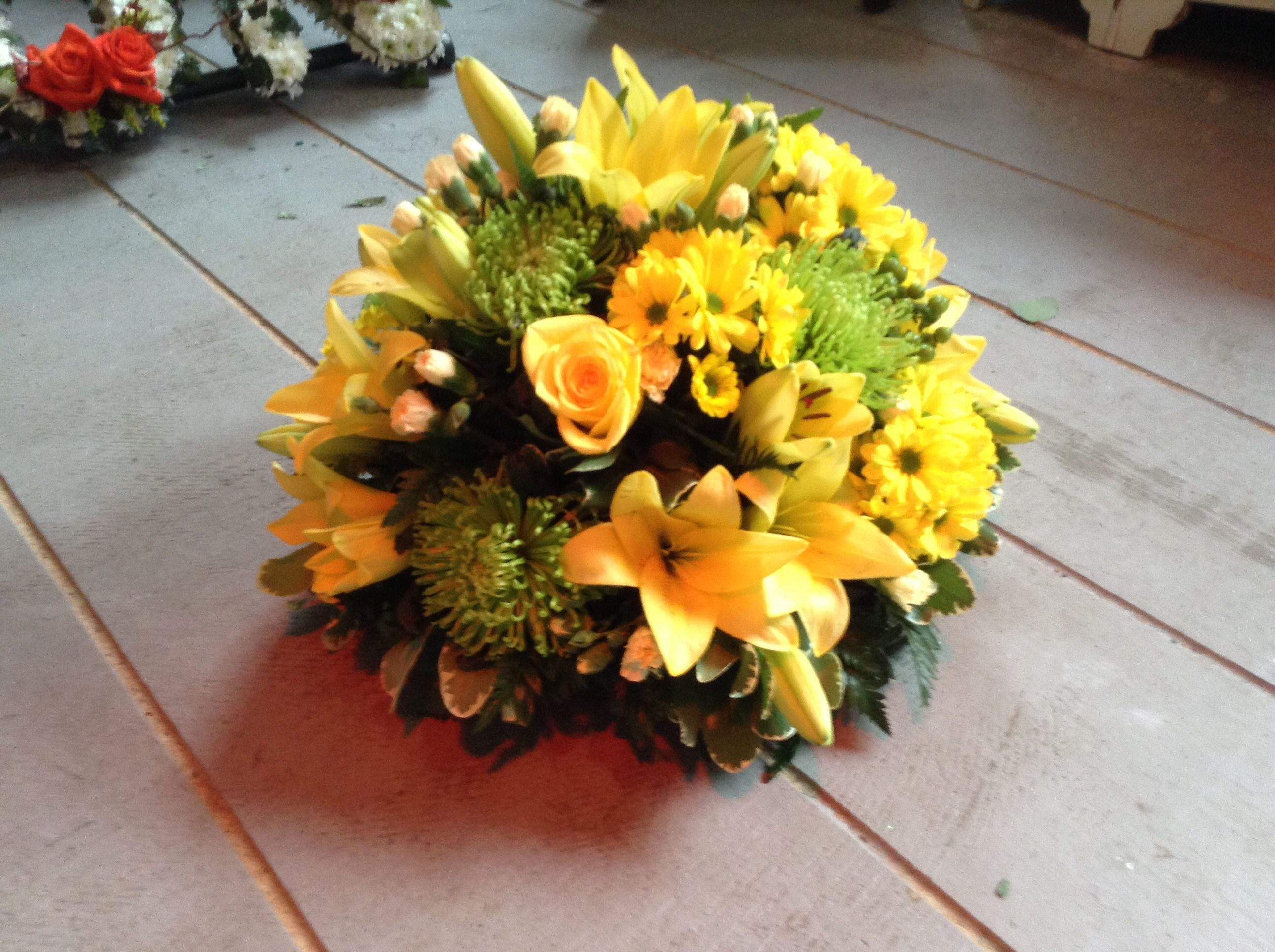 Funeral Flowers Bright Yellow Funeral Posy Yellow Lily Yellow