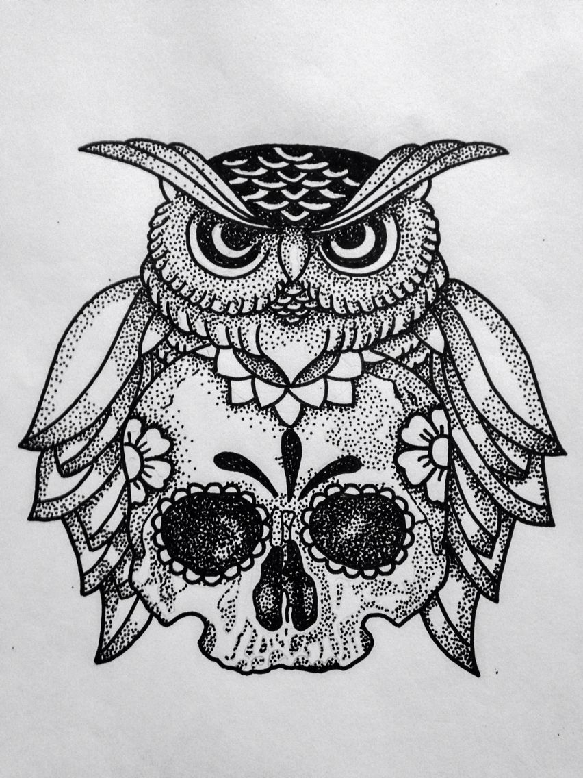 owl and skull dotwork drawing tattoo design drawing