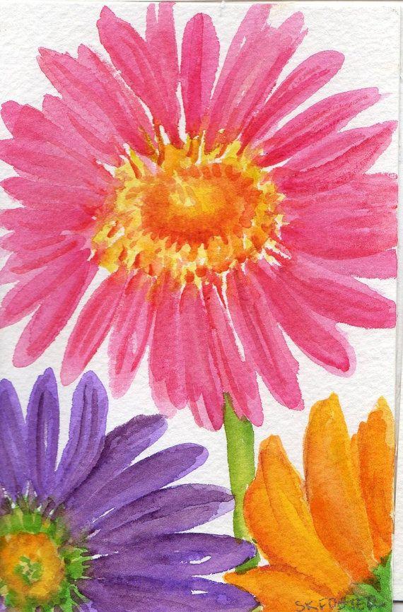 Hot Pink Purple And Orange Gerbera Daisies By Sharonfosterart